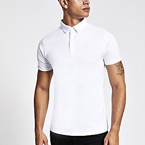 Polo côtelé blanc ajusté à manches courtes