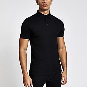 Kurzärmeliges, schwarzes Muscle Fit Poloshirt im Rippenstrick