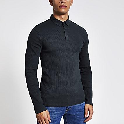 Navy long sleeve muscle fit rib polo shirt