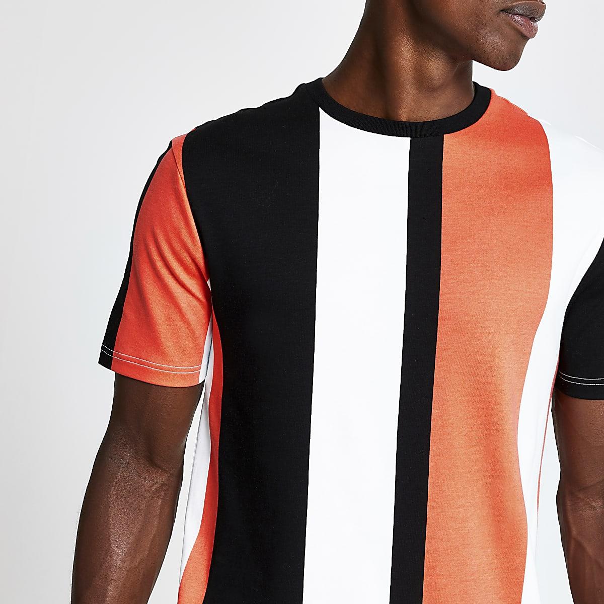 White colour block stripe T-shirt