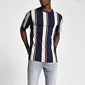 Marineblauw gestreept T-shirt met korte mouwen