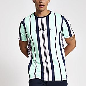 Maison Riviera - Groen gestreept T-shirt