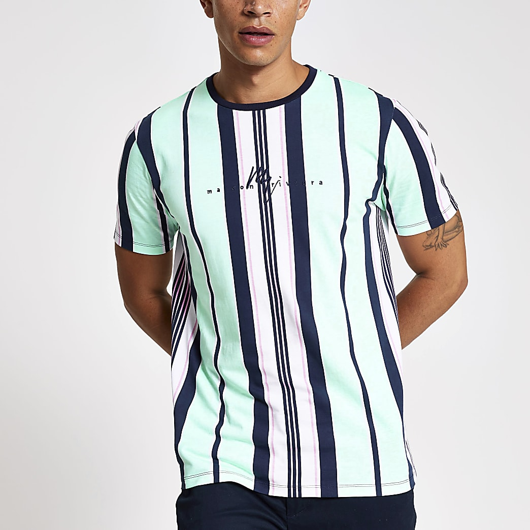 Green stripe Maison Riviera T-shirt