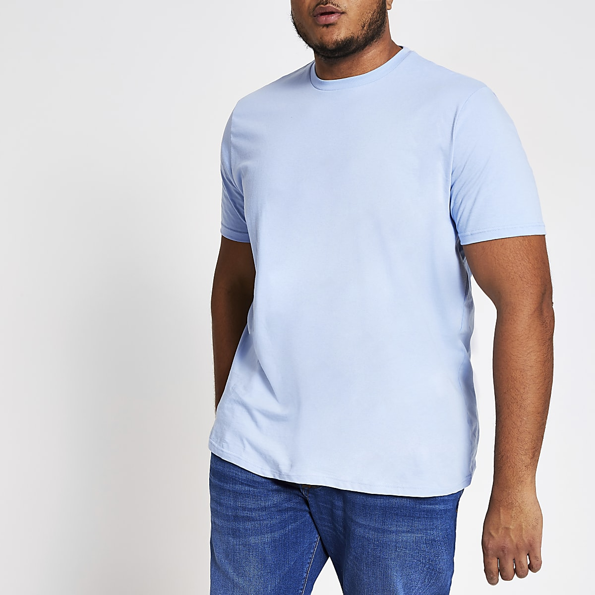 Big and Tall blue regular fit T-shirt