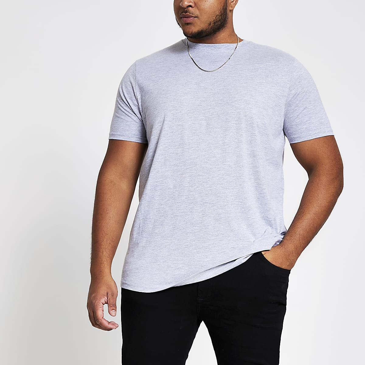 Big and Tall – T-shirt gris à manches courtes