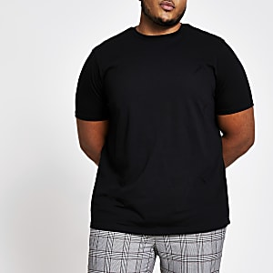 Big and Tall - Zwart T-shirt met korte mouwen