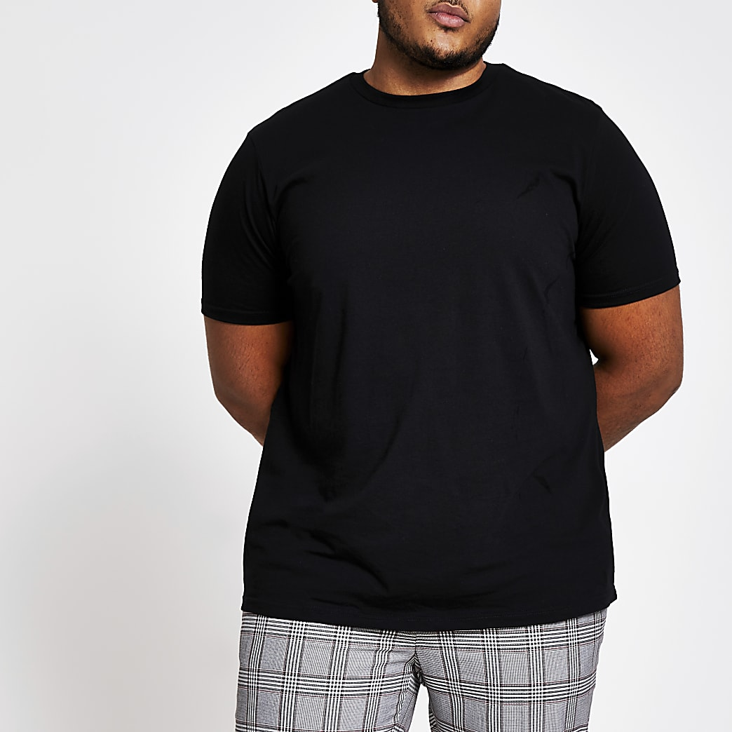 Big and Tall black short sleeve T-shirt
