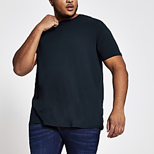 Big and Tall - T-shirt bleu marine à manches courtes