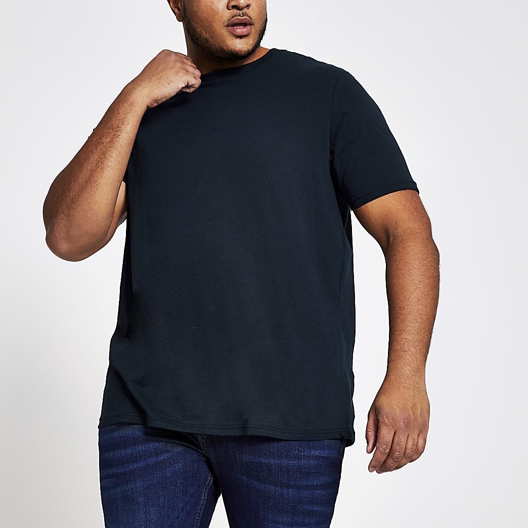 Big and Tall - Marineblauw T-shirt met korte mouwen