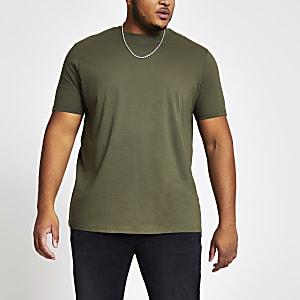 Big and Tall - Kaki T-shirt met korte mouwen