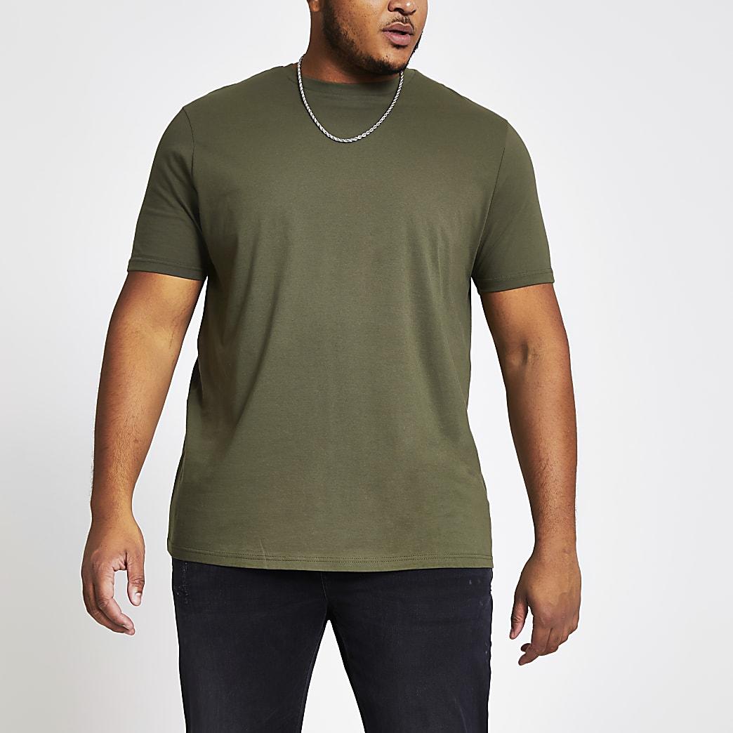 Big and Tall – T-shirt kaki à manches courtes
