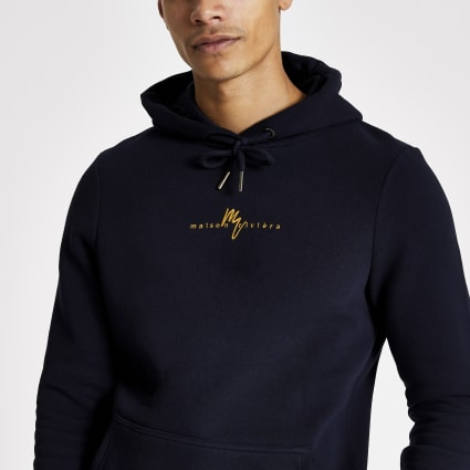 Navy muscle fit Maison Riviera hoodie