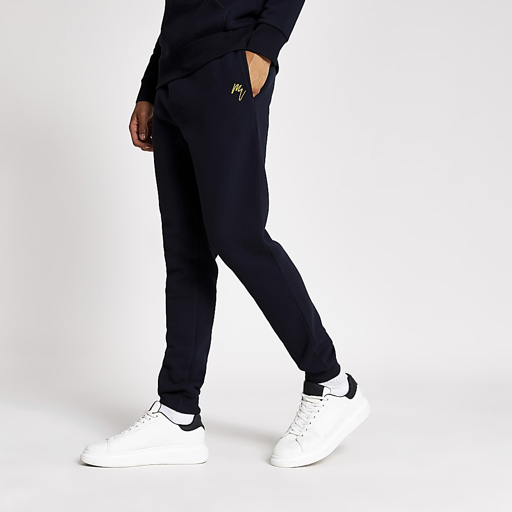 Maison Riviera navy muscle fit joggers