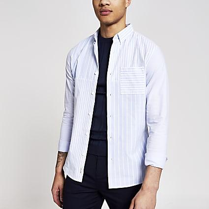 Blue block striped slim fit shirt