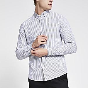 Graues, langärmeliges Hemd im Slim Fit mit Streifen