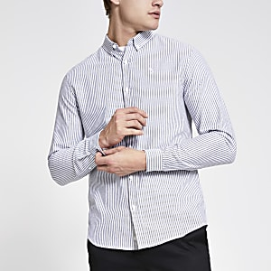 Grijs gestreept slim-fit overhemd met lange mouwen