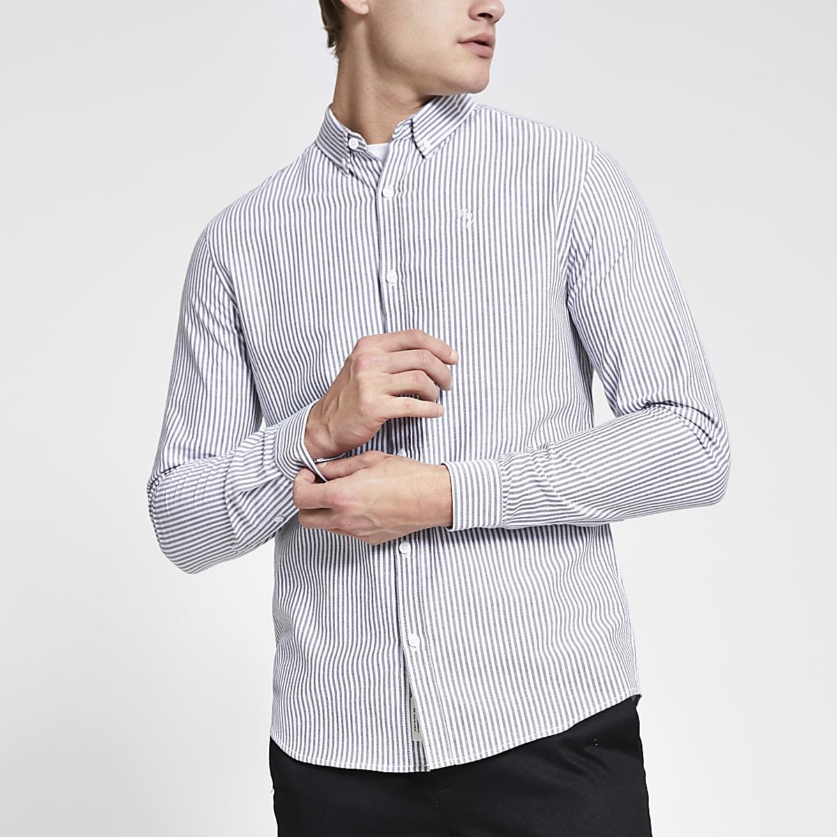 Grey stripe long sleeve slim fit shirt