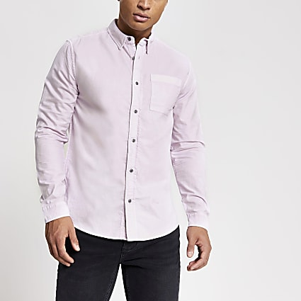 Purple garment dyed regular fit shirt