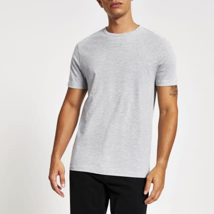 Grey marl slim fit crew neck T-shirt