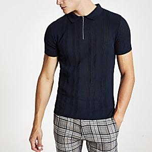 Polo en maille bleu marine à col zippé