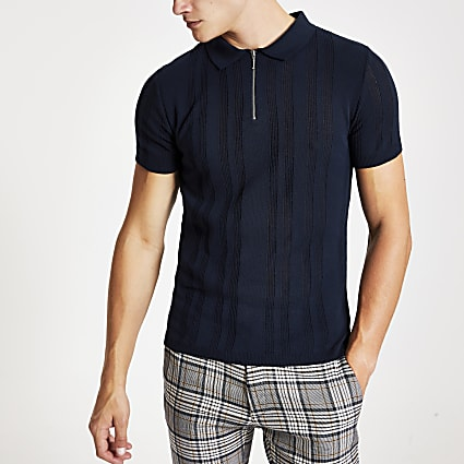 Navy zip neck knitted polo shirt