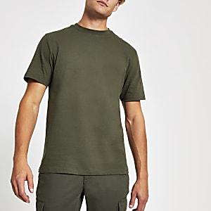 Kurzärmeliges T-Shirt in Khaki mit Rundhalsausschnitt