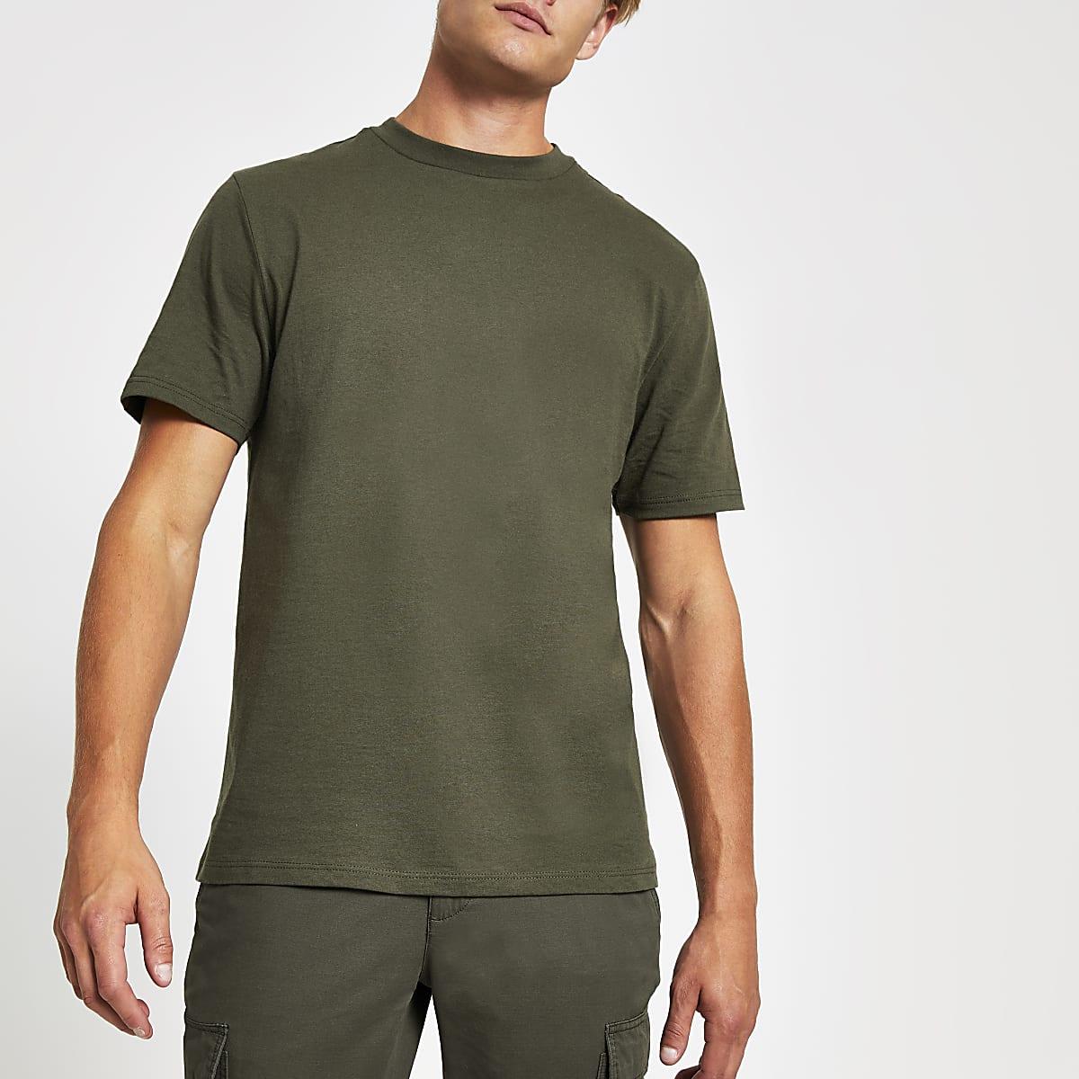 Kaki T-shirt met ronde hals en korte mouwen