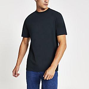 Marineblauw T-shirt met ronde hals en korte mouwen