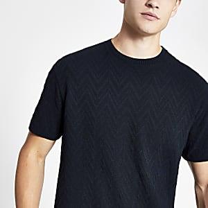T-shirt en maille texturée bleu marine