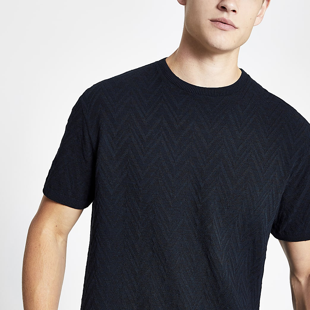 Navy textured fit knitted T-shirt