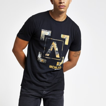 Black slim fit 'MCMLXVII' box print T-shirt