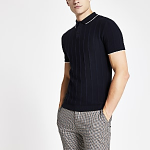 Navy knitted stitch muscle fit polo shirt