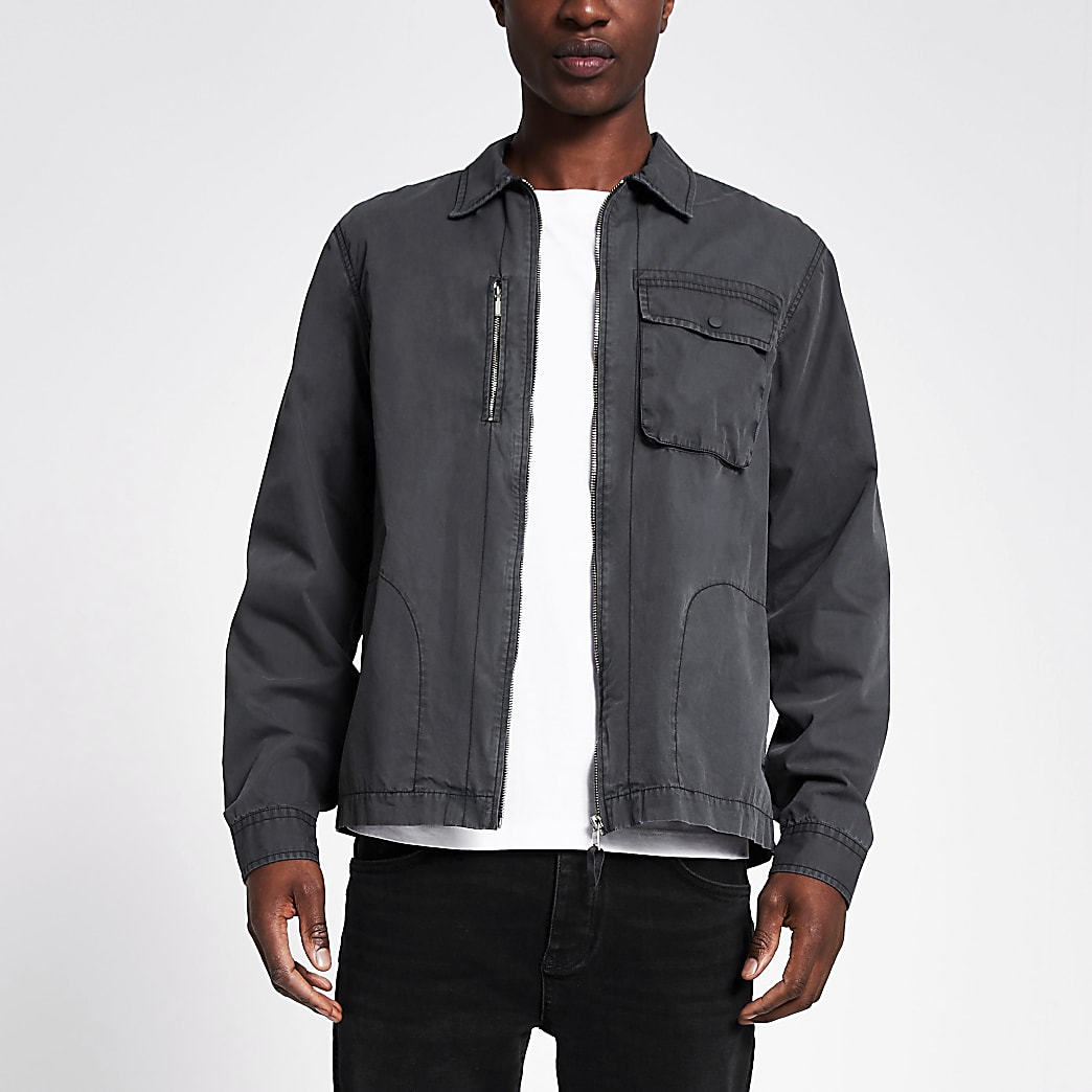 Grey washed zip front overshirt