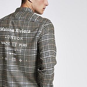 Maison Riviera – Kariertes Regular Fit Hemd in Braun