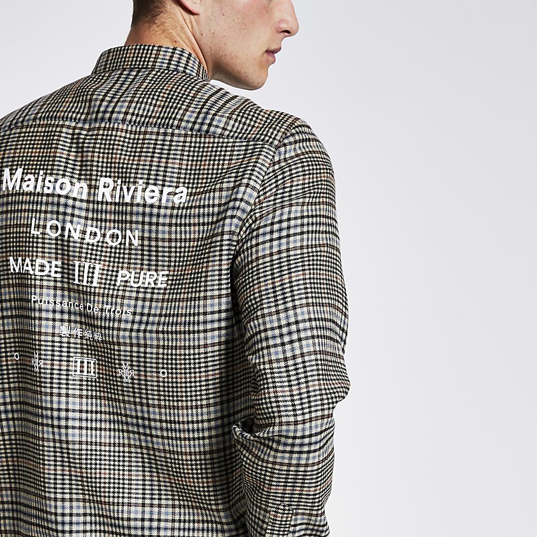 Maison Riviera brown check regular fit shirt