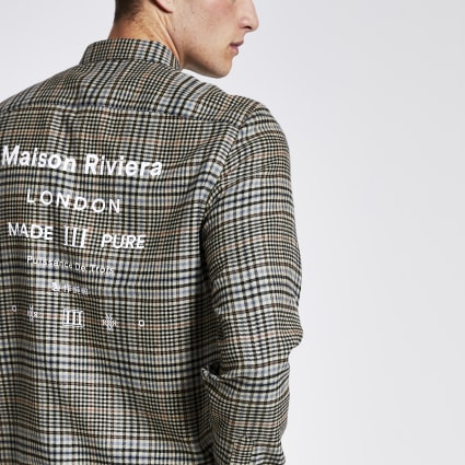 Brown check Maison Riviera regular fit shirt