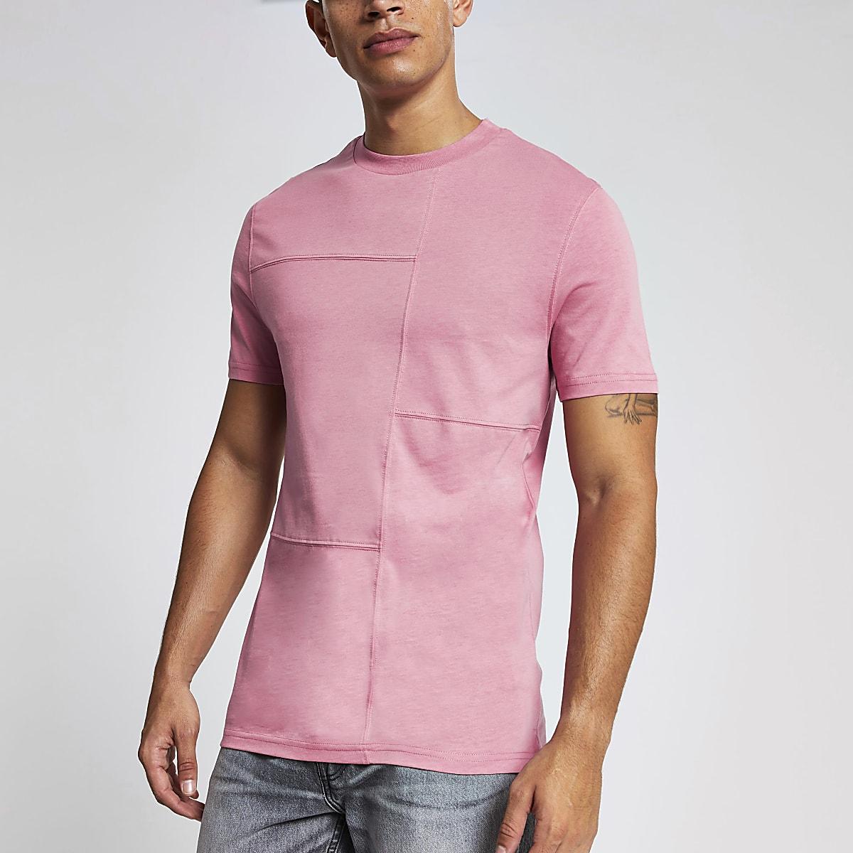 Roze slim-fit T-shirt met gestikte panelen