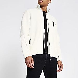 Ecru sweatshirt met borgkraag, ritssluiting en vlakken