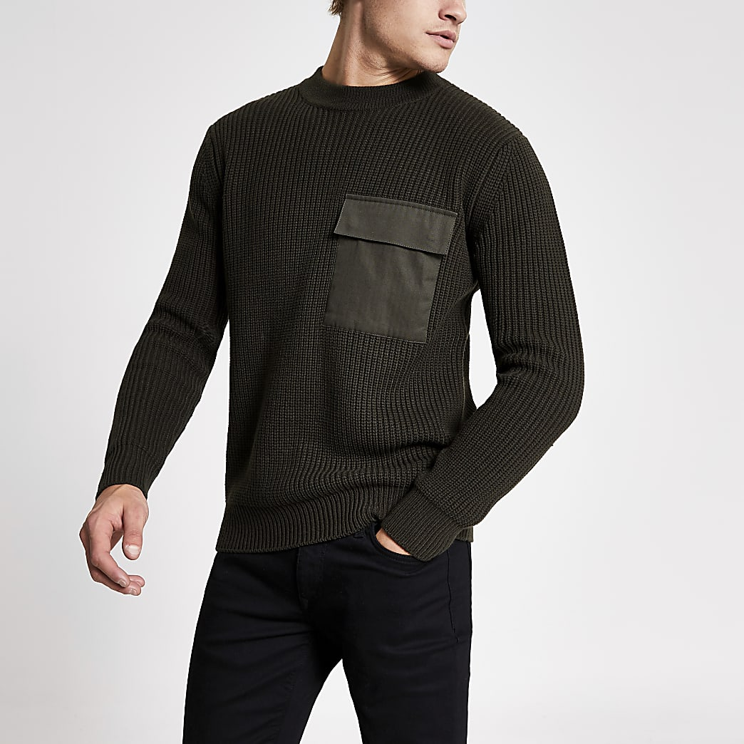 Green pocket front fisherman knitted jumper