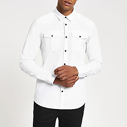 White long sleeve slim fit utility shirt