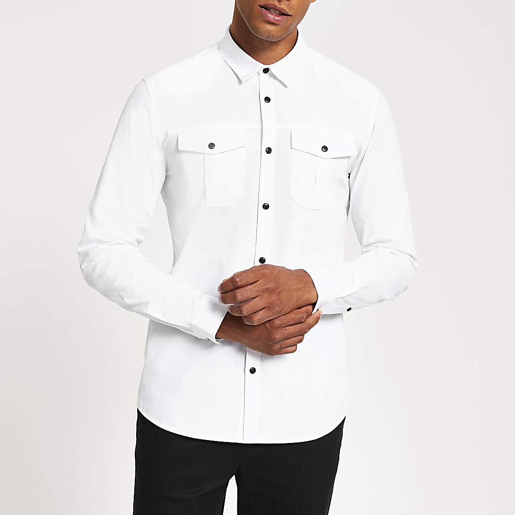 White long sleeve slim fit utility shirt
