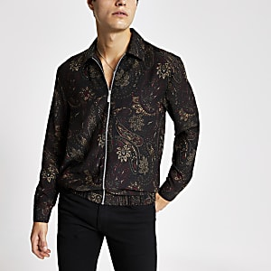 Black paisley long sleeve zip overshirt