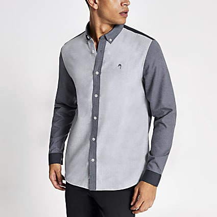 Blue colour block slim fit shirt