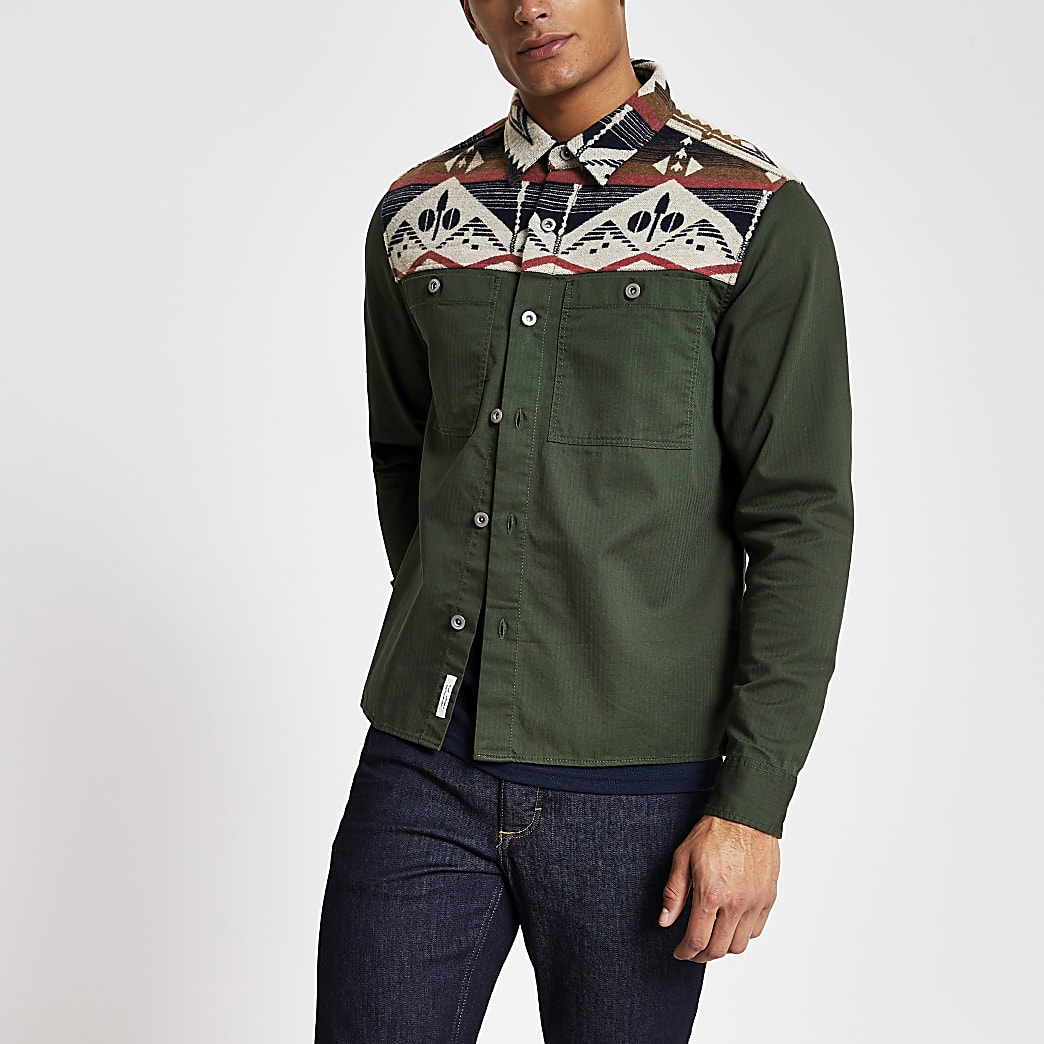 Khaki navajo blocked regular fit overshirt