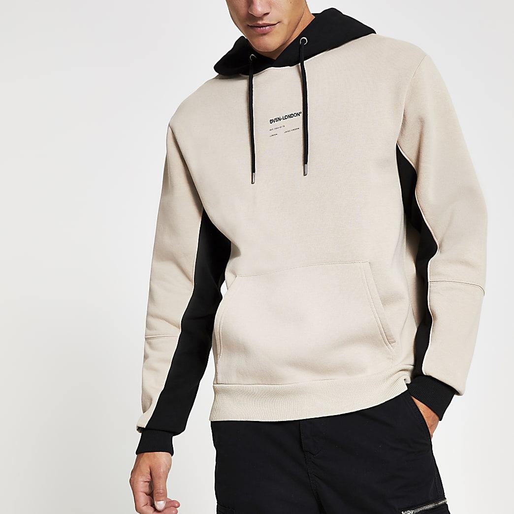 Svnth - Kiezelkleurige geborduurde hoodie met kleurvlak
