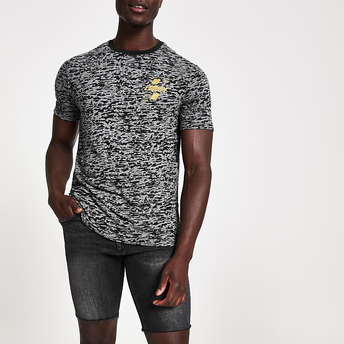 T-shirt slim imprimé noir effet usé