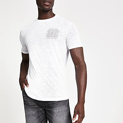 White burnout printed slim fit T-shirt