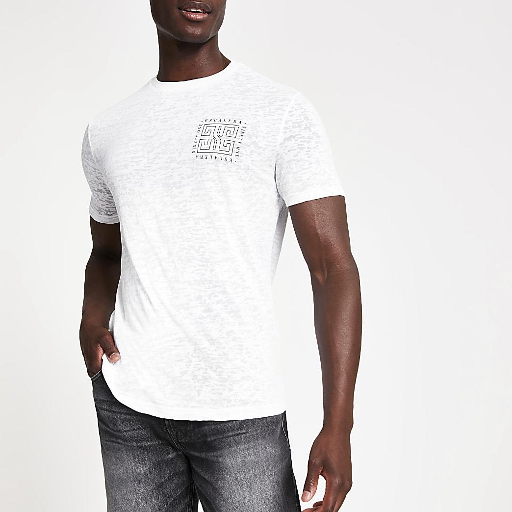Wit slim-fit T-shirt met burnout-print