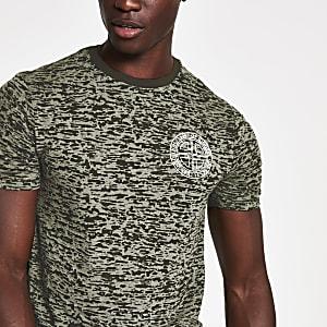 Groen slim-fit T-shirt met burnout-print