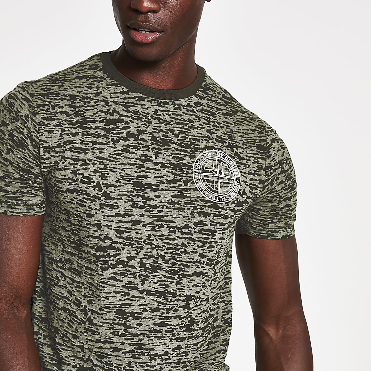 Green burnout printed slim fit T-shirt